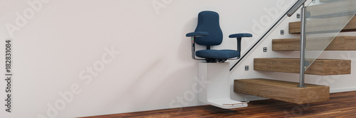 Altersgerecht wohnen mit Treppenlift im Haus Canvas Print
