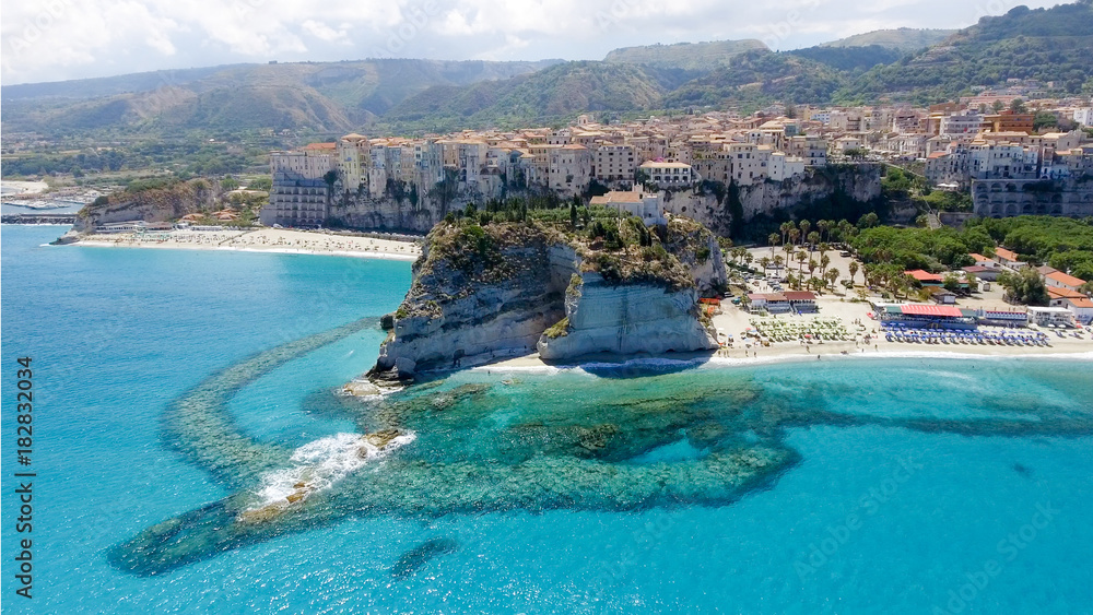 Fototapety, obrazy: Aerial view of Tropea coastline in Calabria, Italy