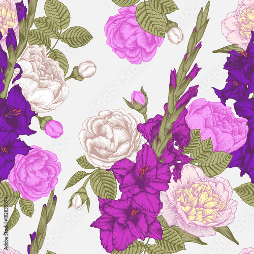 Fotomural Vector floral seamless pattern with hand drawn gladiolus flowers, roses and peon
