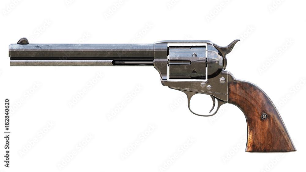 Fototapeta Vintage revolver isolated. 3D render