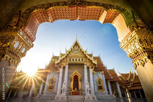 Photo Stands Bangkok Bangkok City - Benchamabophit dusitvanaram temple from Bangkok Thailand