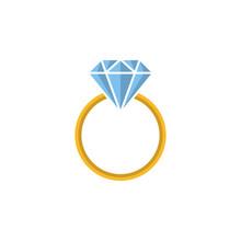 Gold Ring With Diamond Gemstone Silhouette, Icon, Logo