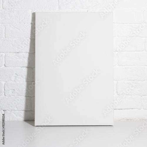 Mock up poster in white interior  Empty blank canvas leaning