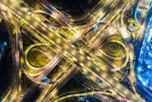 Top View Night Traffic Modern Transport Background