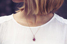 Luxury Necklace With Gem Stone Pendant