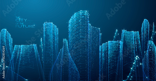 3d polygonal City, future, futuristic concept, metropolis for Vr glasses, virtual reality abstract city, tech background, Vector illustration. - 182854264
