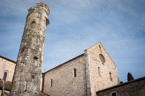 Aquileia, Basilica di Santa Maria Assunta, facciata laterale con torre Canvas Print
