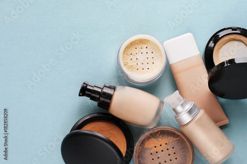 Fotomural  Set of decorative cosmetic. Face powder, foundations.