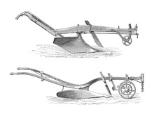 Old Ploughs (above Made In America, Under Made In England)/ Vintage Illustration