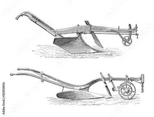 Old ploughs (above made in America, under made in England)/ vintage illustration Wall mural