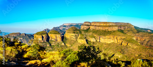 View of the Three Rondavels at the Blyde River Canyon viewpoint on the Panorama Route in Mpumalanga Province of South Africa