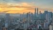 Kuala Lumpur city skyline sunrise timelapse, Malaysia 4K Time lapse