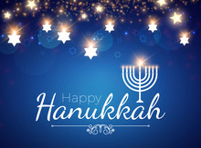 Happy Hanukkah Shining Backgro...