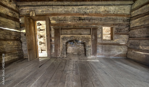 Pioneer Log Cabin Interior Wooden Interior Of Historic