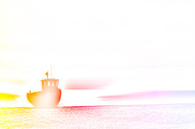 A Stylised Boat With A Tropical Rainbow Colorised Overlay With  White Copy Text Space Above