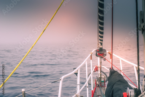 Foto op Aluminium Arctica sailing in the fog - danger