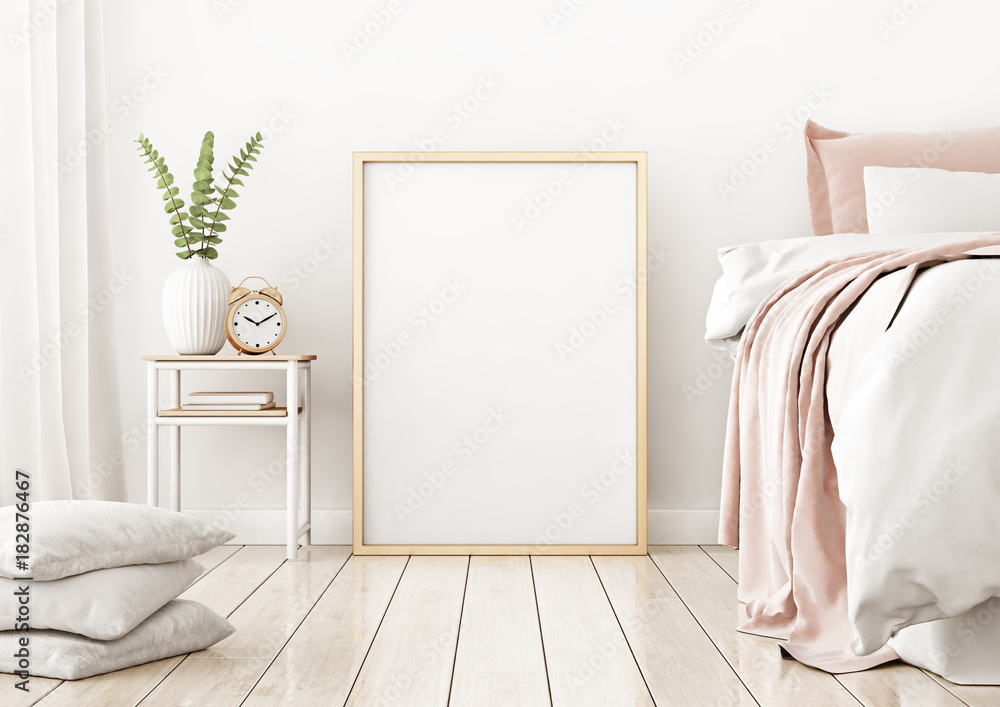 Fototapety, obrazy: Interior poster mock up with vertical frame on the floor in home bedroom interior. 3D rendering.