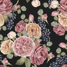 Floral Seamless Pattern With Watercolor Roses And Black Rowan Berries. Background With Bouquets Of Hand Drawn Watercolor Flowers