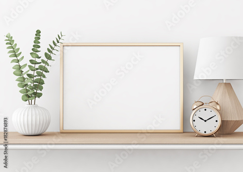 Fotografiet  Home interior poster mock up with horizontal metal frame, plant in vase and lamp on white wall background