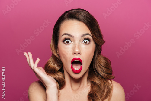 Tablou Canvas Shocked beautiful lady with make up looking camera