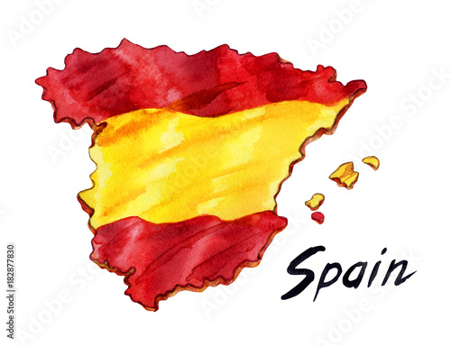 Map Of Spain Drawing.Map Of Spain With A Background In The Form Of A Flag And An
