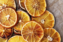 Natural Background Dry Sliced Oranges, Top View Close-up.