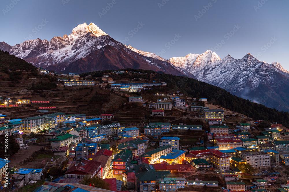 Fototapety, obrazy: Namche Bazaar aerial view, Everest trek, Himalaya, Nepal.