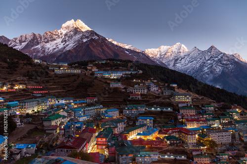 Namche Bazaar widok z lotu ptaka, Everest wędrówka, Himalaje, Nepal