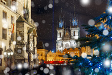 Old Town Hall With Astronomical Clock, Town Square With Christmas Tree And Fairy Tale Church Of Our Lady Tyn In The Magical City Of Prague At Snowy Night, Czech Republic