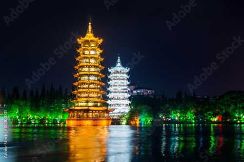 Foto op Canvas Guilin Twin towers in city of Guilin in China