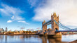 Leinwandbild Motiv London cityscape panorama with River Thames Tower Bridge and Tower of London in the morning light