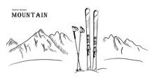 Hand Drawn Mountain And Ski Gr...