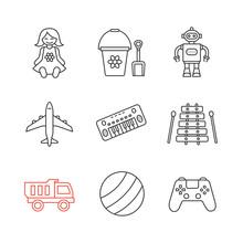 Kids Toys Linear Icons Set