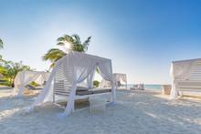 Luxury Beach Scene. Sea View And Clear Blue Sky