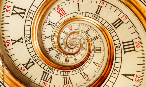 Cadres-photo bureau Spirale Antique old clock abstract fractal spiral. Watch clock mechanism unusual abstract texture fractal pattern background. Golden old fashion clock with roman and arabic numerals. Abstract spiral effect