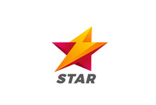 Star Flash Thunderbolt Logo Vector. Speed Energy Leader Icon