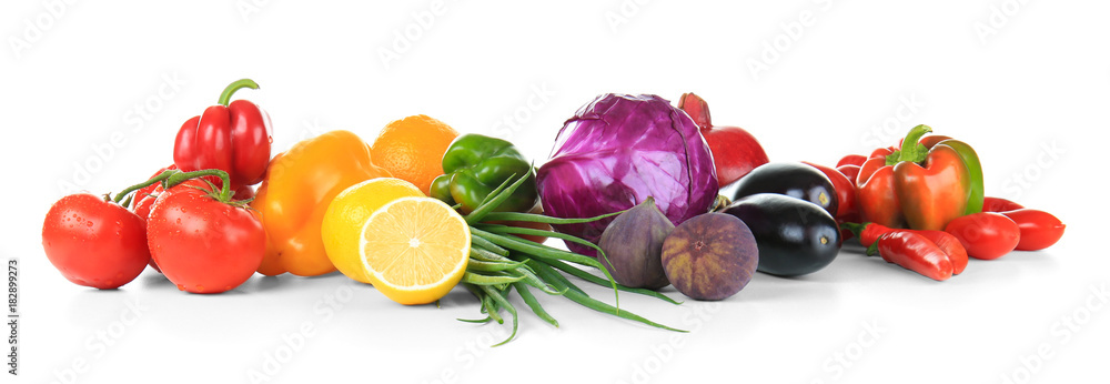 Composition of different fruits and vegetables on white background