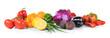 Leinwandbild Motiv Composition of different fruits and vegetables on white background