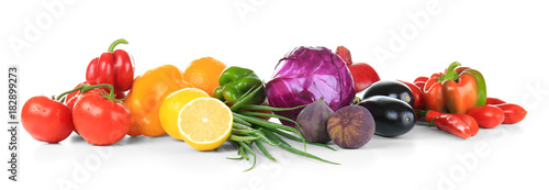Poster de jardin Cuisine Composition of different fruits and vegetables on white background