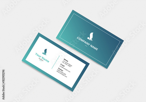 business card with blue green accents buy this stock template and