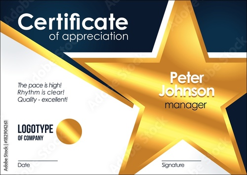 Certificate of appreciation Golden muniment or diploma template with gold star m Wallpaper Mural