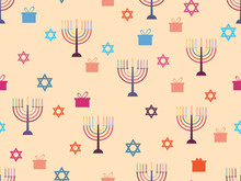 Hanukkah Seamless Pattern With Candlesticks, Stars And Gifts. Celebratory Background. Vector Illustration