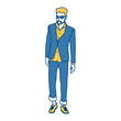 Model man with fashion clothes icon vector illustration graphic design