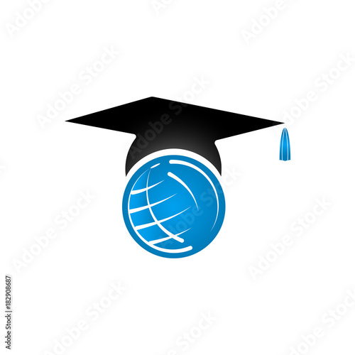education logo concept with graduation cap and globe vector