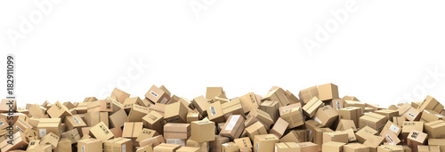 Fotografía Logistic concept. Big pile of cardboard boxes. 3d illustration