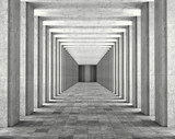 Fototapeta Do przedpokoju - Light passing through the columns of a modern urban building. Light and shadows between the concrete columns of the long koredor. 3d illustration