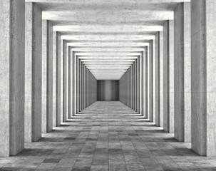 FototapetaLight passing through the columns of a modern urban building. Light and shadows between the concrete columns of the long koredor. 3d illustration