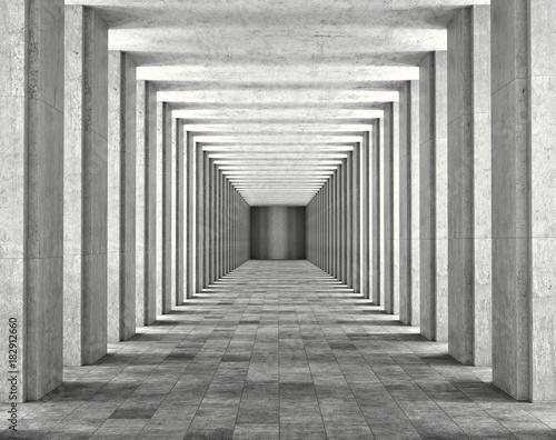 Światło przechodzące przez kolumny nowoczesnego budynku miejskiego. Światło i cienie między betonowymi kolumnami długiego koredora. 3d ilustracja