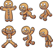 Gingerbread Man In Different P...