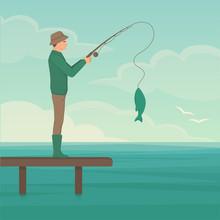 Vector Illustration Of A Cartoon Fisherman, Man Cath Fish On Fishing Rod